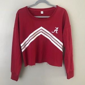 Zoozats Alabama Crimson Tide raw hem crop sweater